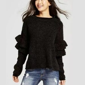 MOSSIMO PULLOVER SWEATER RUFFLE SLEEVE CHENILLE
